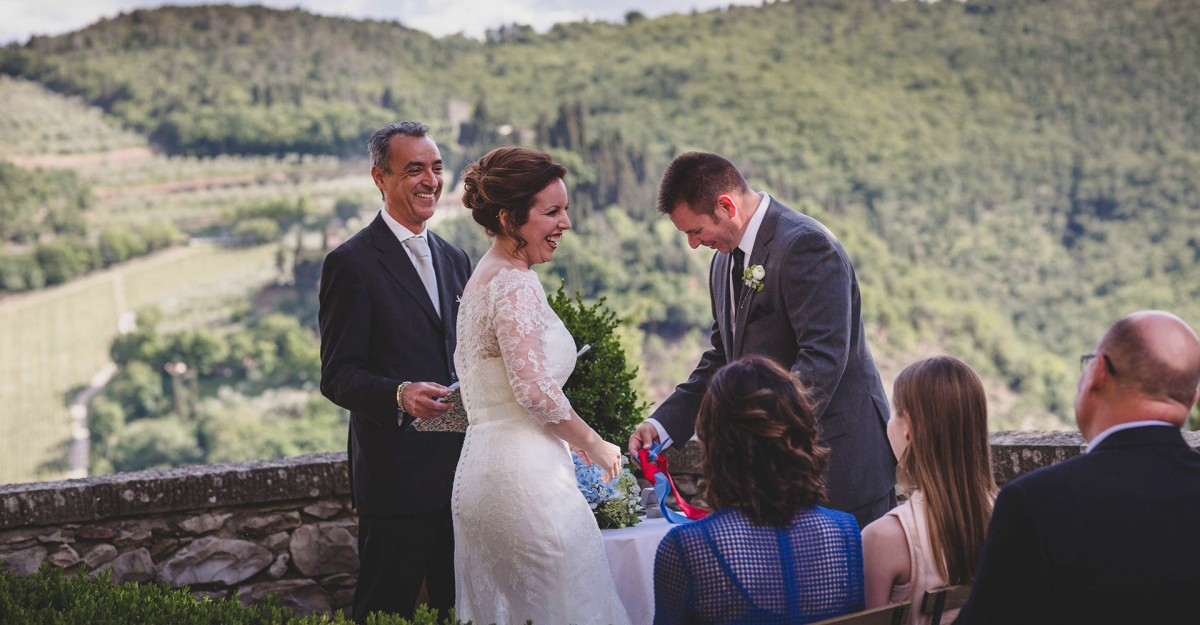 Fun wedding officiant Italy